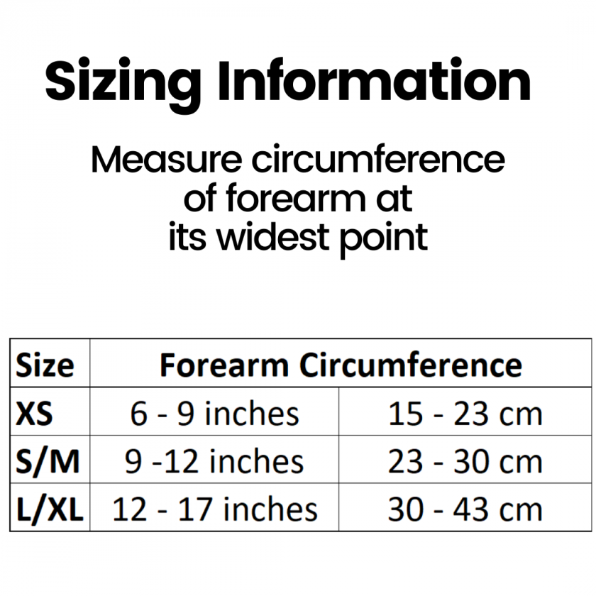 Elbow Strap - sizing information